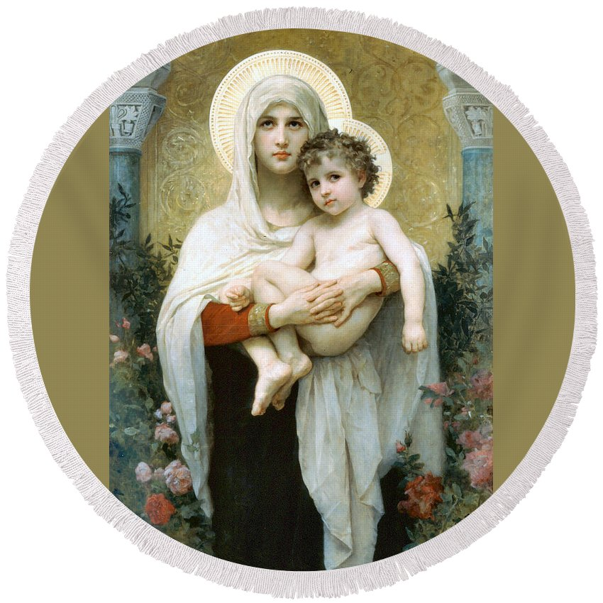 The Madonna Of The Roses Round Beach Towel featuring the digital art The Madonna Of The Roses by William Bouguereau