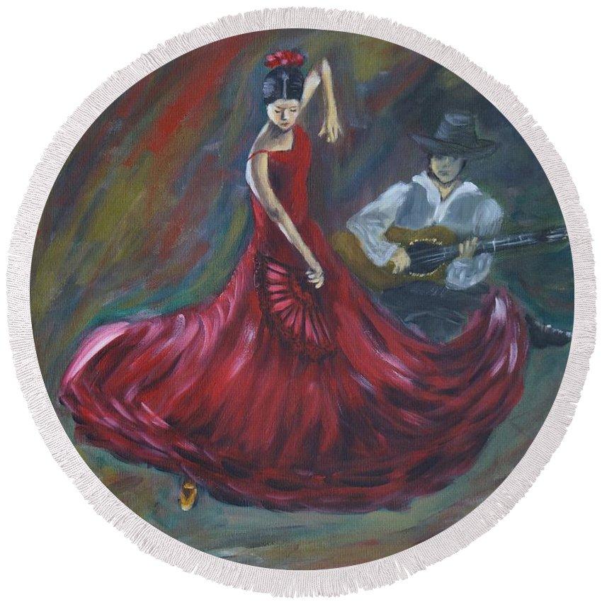 Acrylic On Canvas Round Beach Towel featuring the painting The Magic Of Dance by Tzvetanka Apostolova