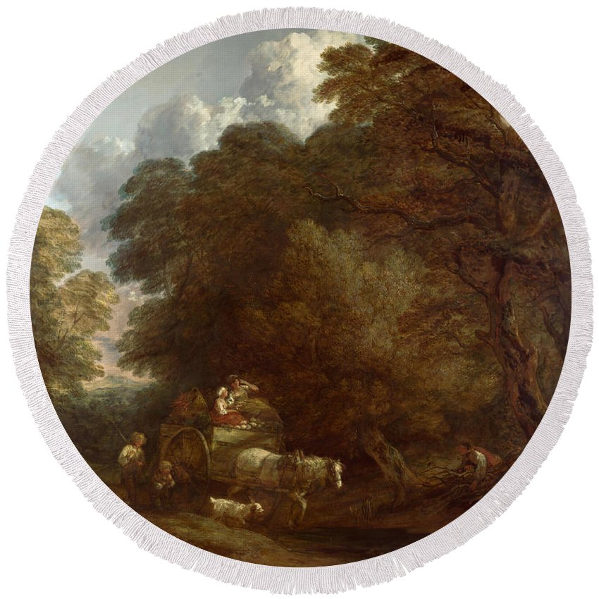 Thomas Gainsborough Round Beach Towel featuring the painting The Market Cart by Thomas Gainsborough