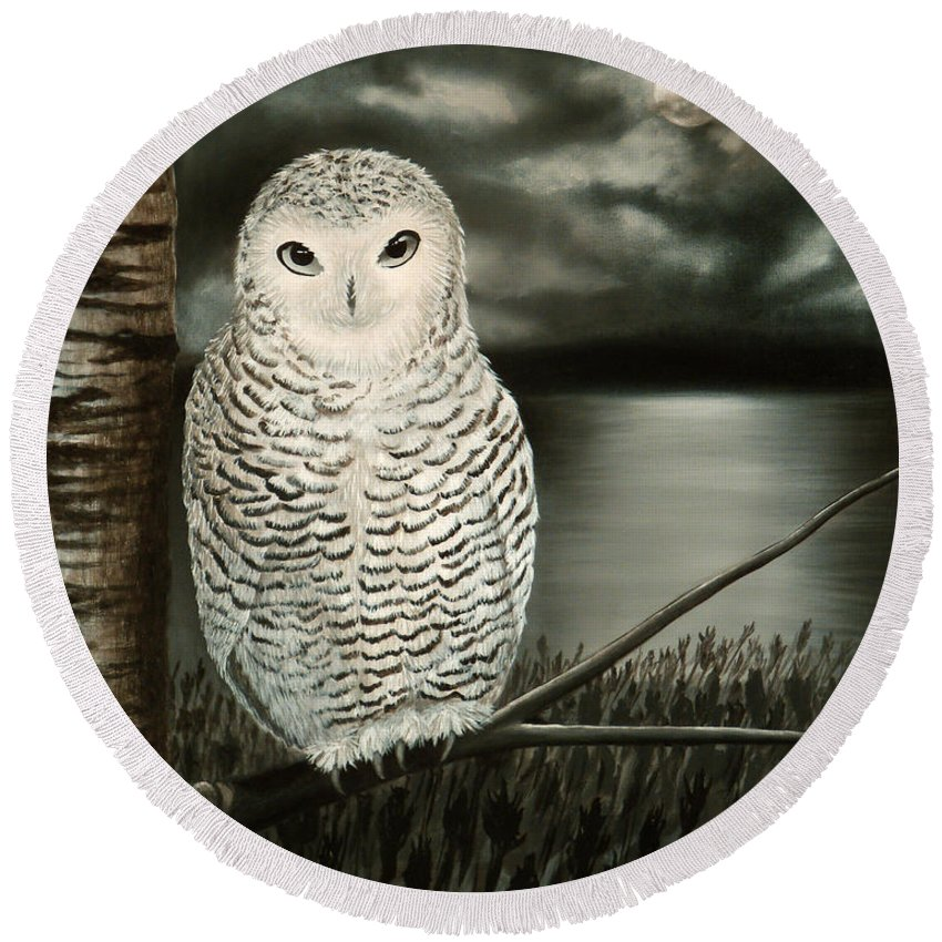 Owl Round Beach Towel featuring the painting The Marsh At Night by Liz Boston