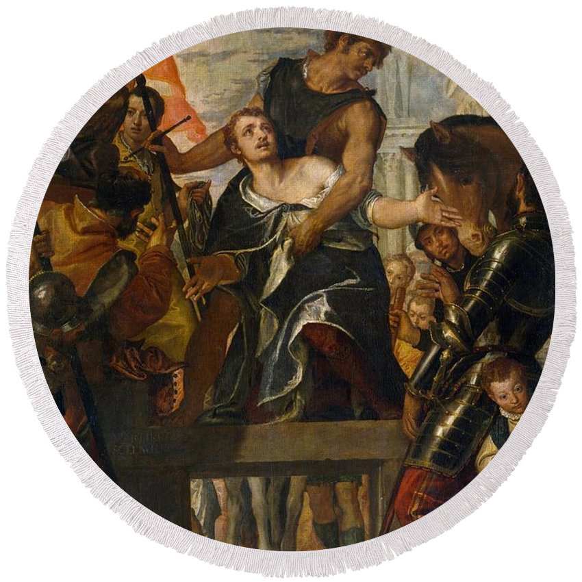 1580 Round Beach Towel featuring the painting The Martyrdom Of Saint Mena by Paolo Veronese