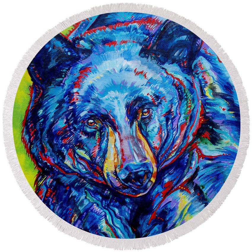 Bear Round Beach Towel featuring the painting The Matriarch by Derrick Higgins
