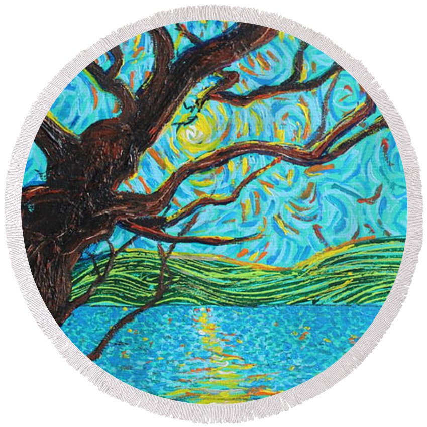 Landscape Round Beach Towel featuring the painting The Mermaid Tree by Stefan Duncan