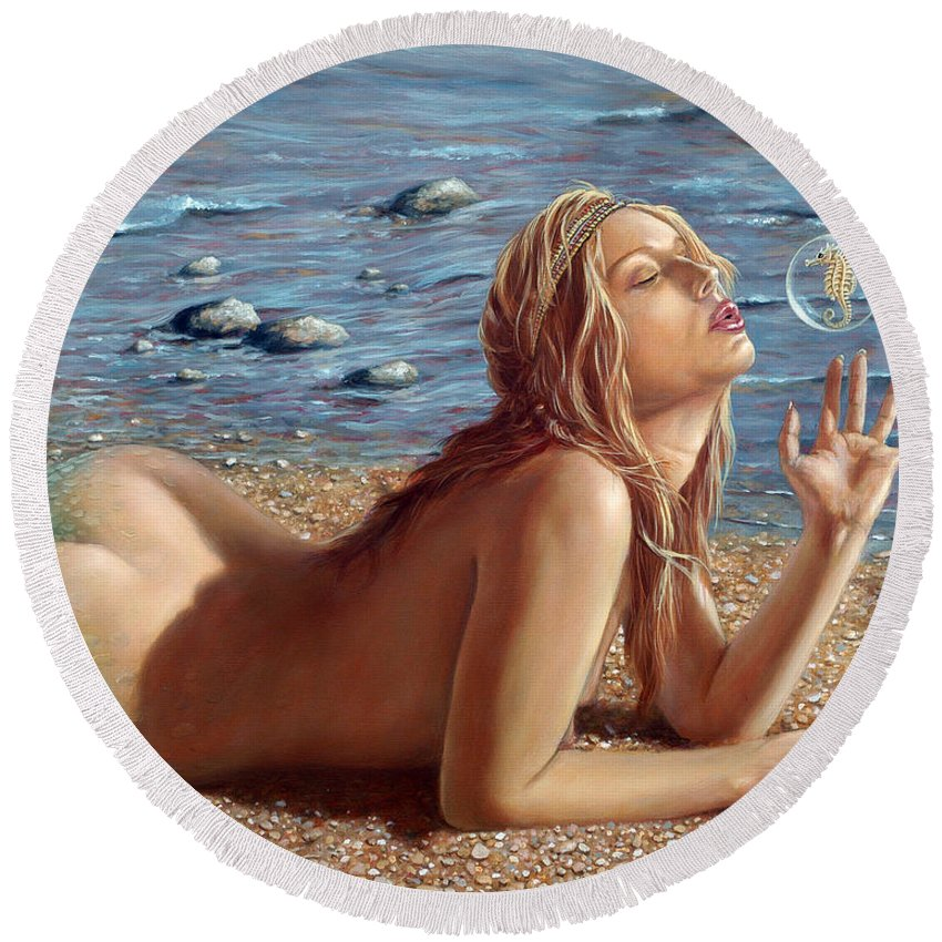Seahorse Round Beach Towel featuring the painting The Mermaids Friend by John Silver