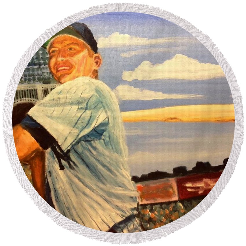 Mickey Mantle Round Beach Towel featuring the painting The Mick by Jeremy Nash