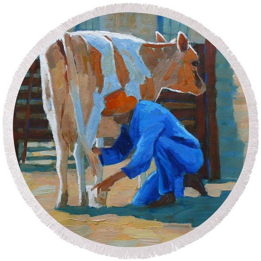 Cow Round Beach Towel featuring the painting The Milkman by Aurelia Sieberhagen