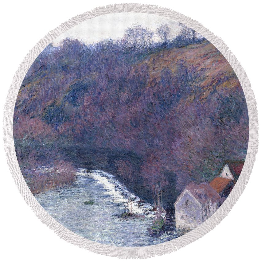 1880s Round Beach Towel featuring the painting The Mill At Vervy by Claude Monet