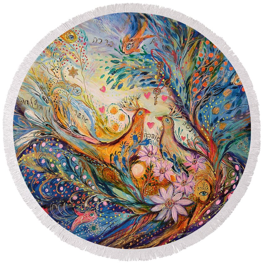 Original Round Beach Towel featuring the painting The Miracle Of Love by Elena Kotliarker