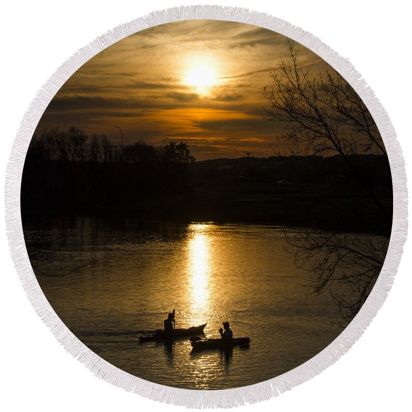 Assiniboine River Round Beach Towel featuring the photograph The Moments That Count by Sandra Parlow