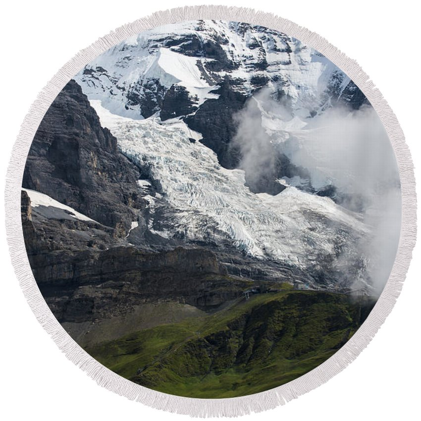 Swiss Alps Round Beach Towel featuring the photograph The Monk - Swiss Bernese Alps by Gary Whitton