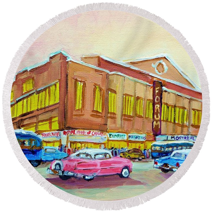 Montreal Round Beach Towel featuring the painting The Montreal Forum by Carole Spandau