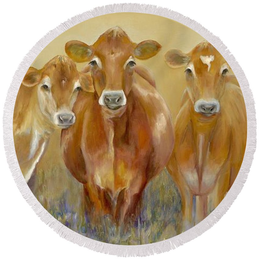 Cow Round Beach Towel featuring the painting The Morning Moo by Catherine Davis