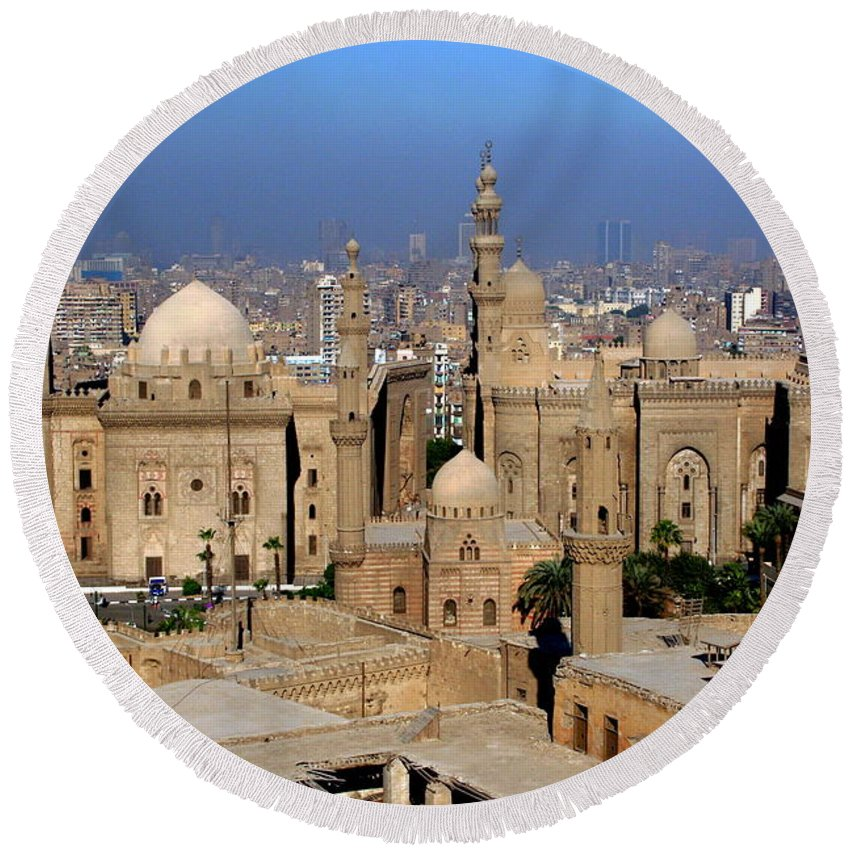 Mosque Round Beach Towel featuring the photograph The Mosque Of Al-azhar by Laurel Talabere