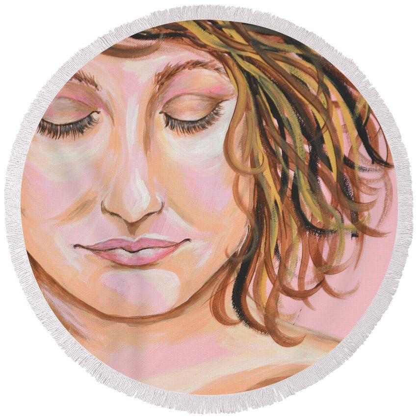 Girl Round Beach Towel featuring the painting The Mourning After by Meganne Peck