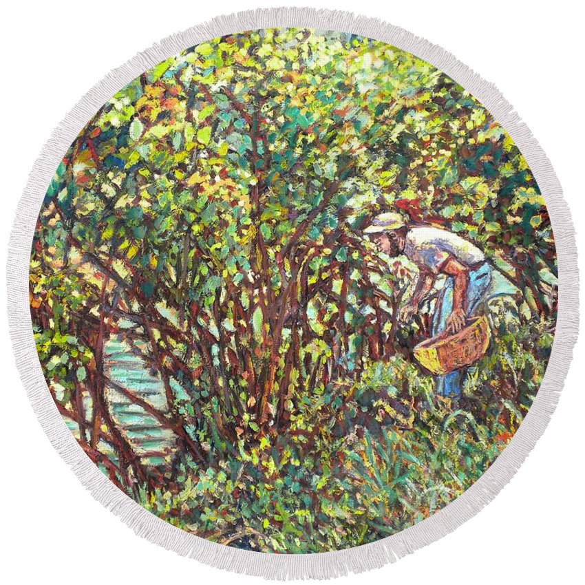 Landscape Round Beach Towel featuring the painting The Mushroom Picker by Kendall Kessler