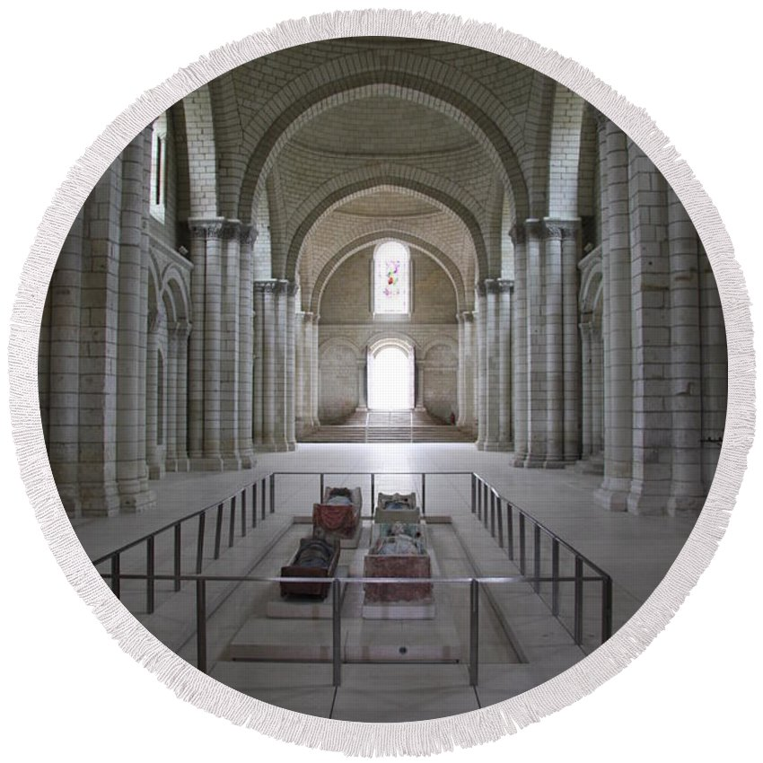 Cloister Round Beach Towel featuring the photograph The Nave With Tombs Fontevraud Abbey by Christiane Schulze Art And Photography