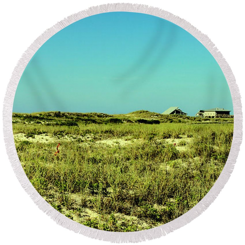 St George Island Round Beach Towel featuring the photograph The Nesting Grounds by Debra Forand