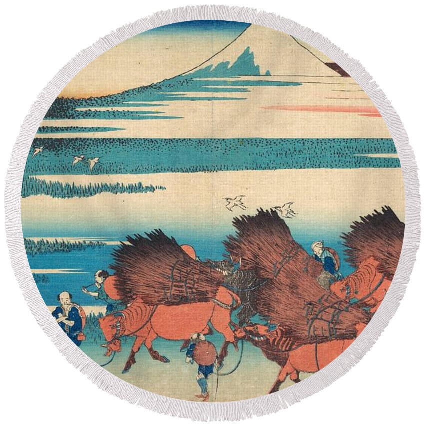 1830-1832 Round Beach Towel featuring the painting The New Fields At Ono In Suruga Province by Katsushika Hokusai