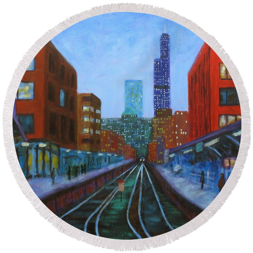 Chicago Art Round Beach Towel featuring the painting The Next Train by J Loren Reedy