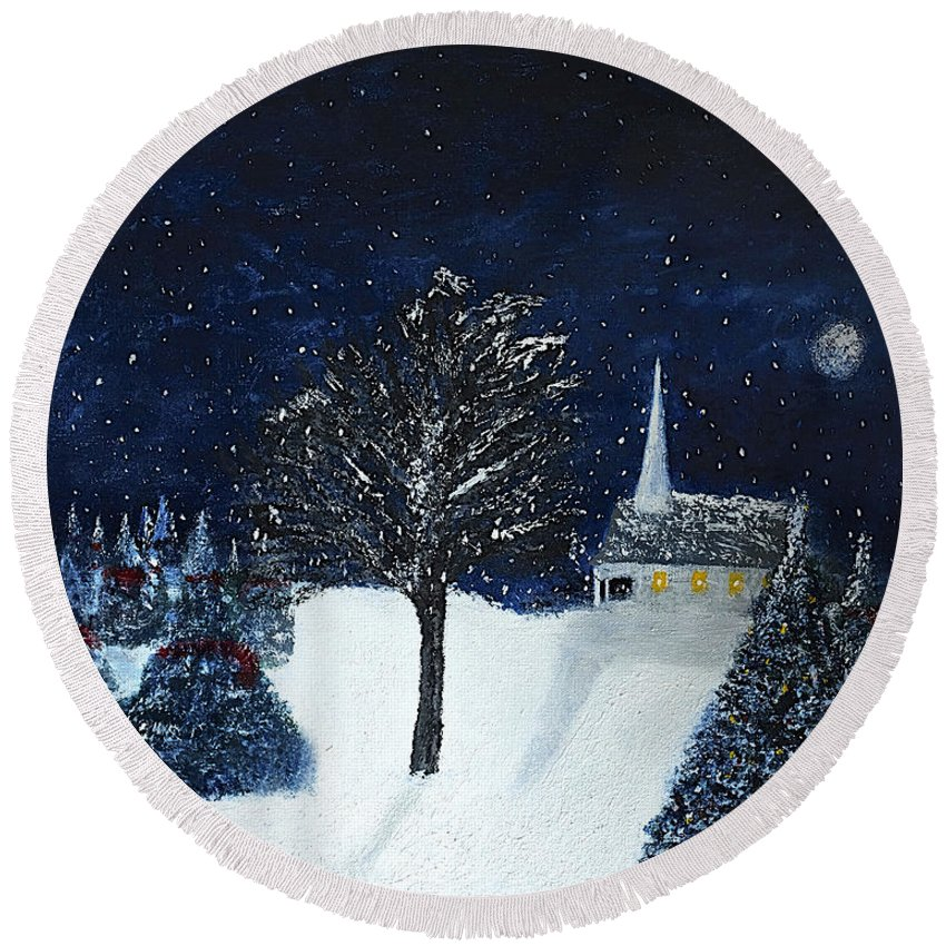 Christmas Round Beach Towel featuring the painting The Night Before Christmas by Dick Bourgault