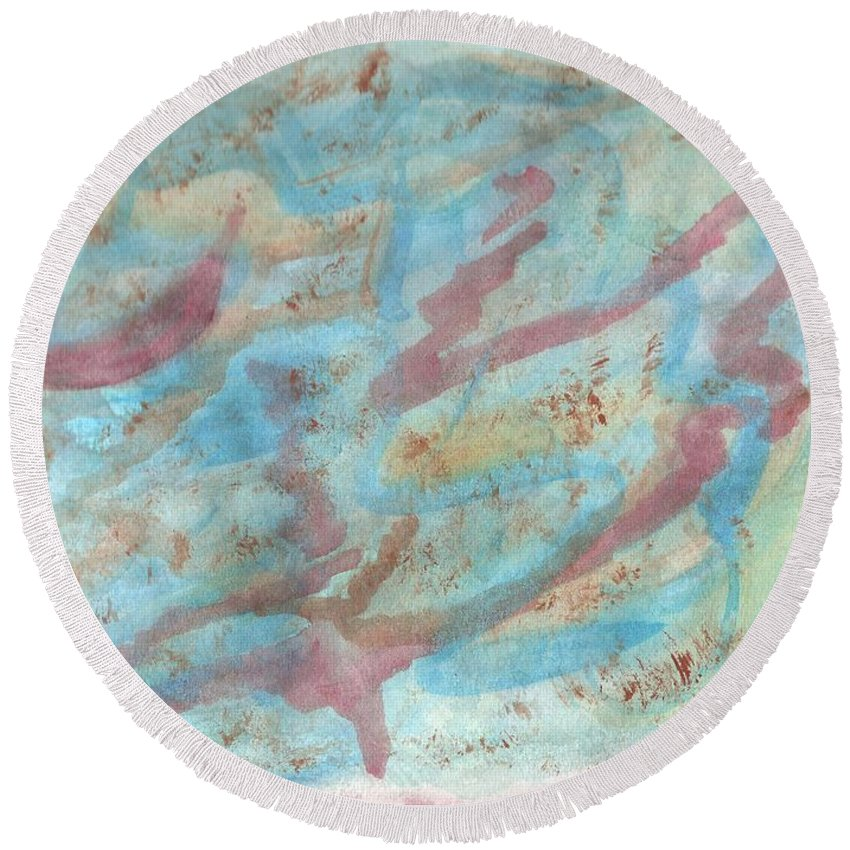 Abstract Round Beach Towel featuring the painting The Night In Farmington Hills by Myrtle Joy