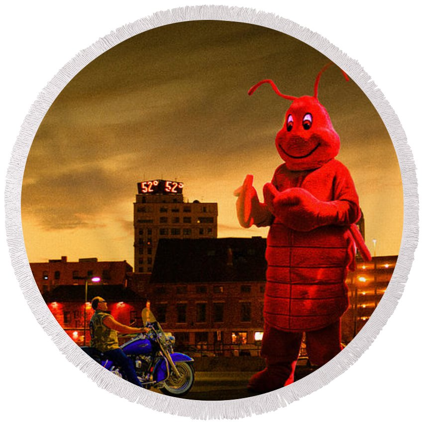 Lobsterman Round Beach Towel featuring the photograph The Night Of The Lobster Man by Bob Orsillo