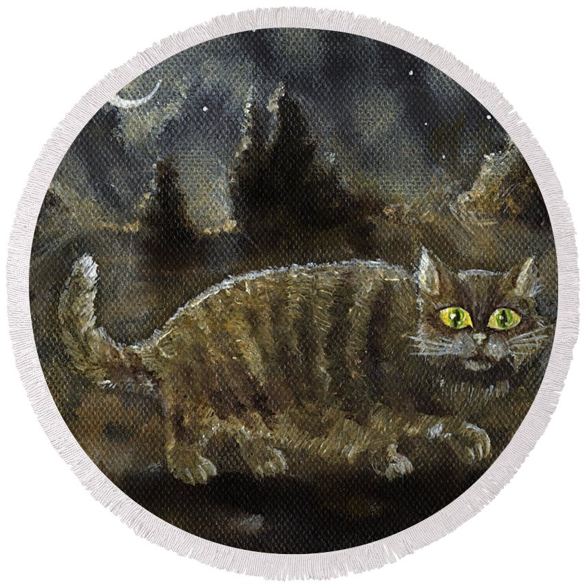 Cat Round Beach Towel featuring the painting The Night Stalker by Angel Ciesniarska