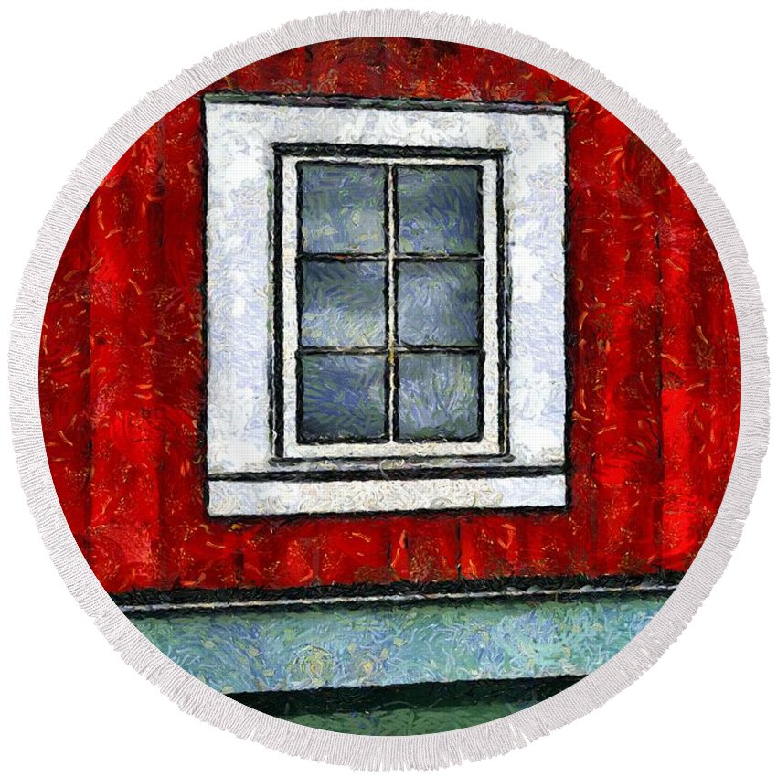 Window Round Beach Towel featuring the painting The Night Window by RC DeWinter