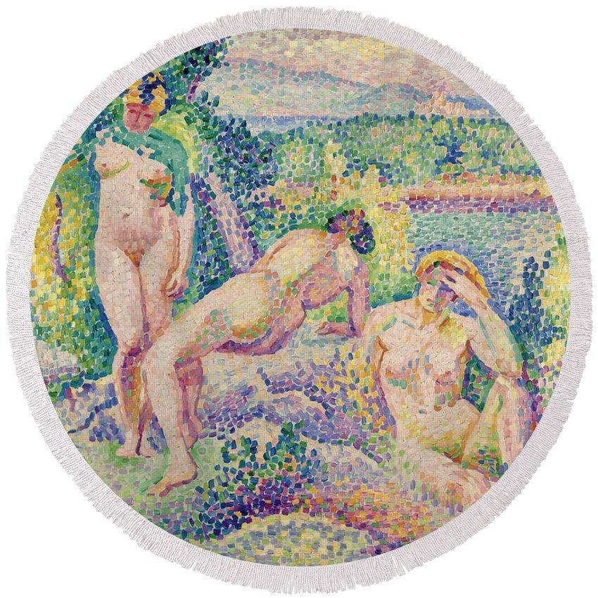 Henri-edmond Cross Round Beach Towel featuring the painting The Nymphs by Henri-Edmond Cross