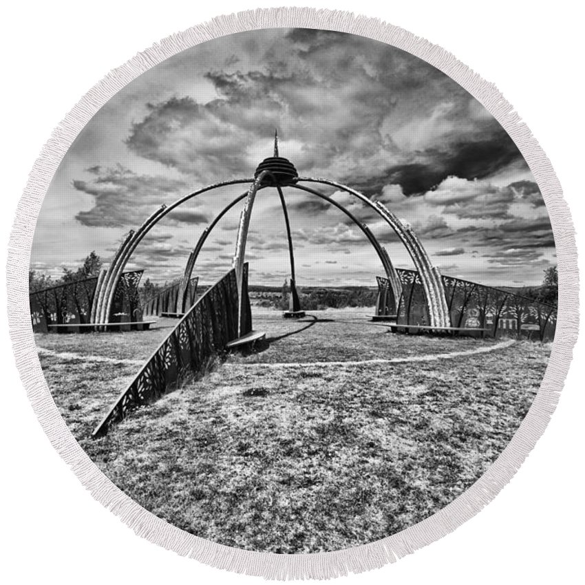 Penallta Park Round Beach Towel featuring the photograph The Observatory Monochrome by Steve Purnell
