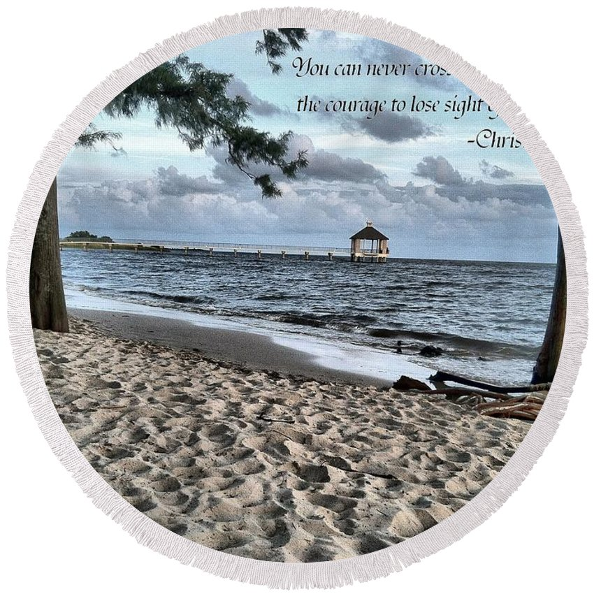 Round Beach Towel featuring the photograph The Ocean by Anthony Walker Sr