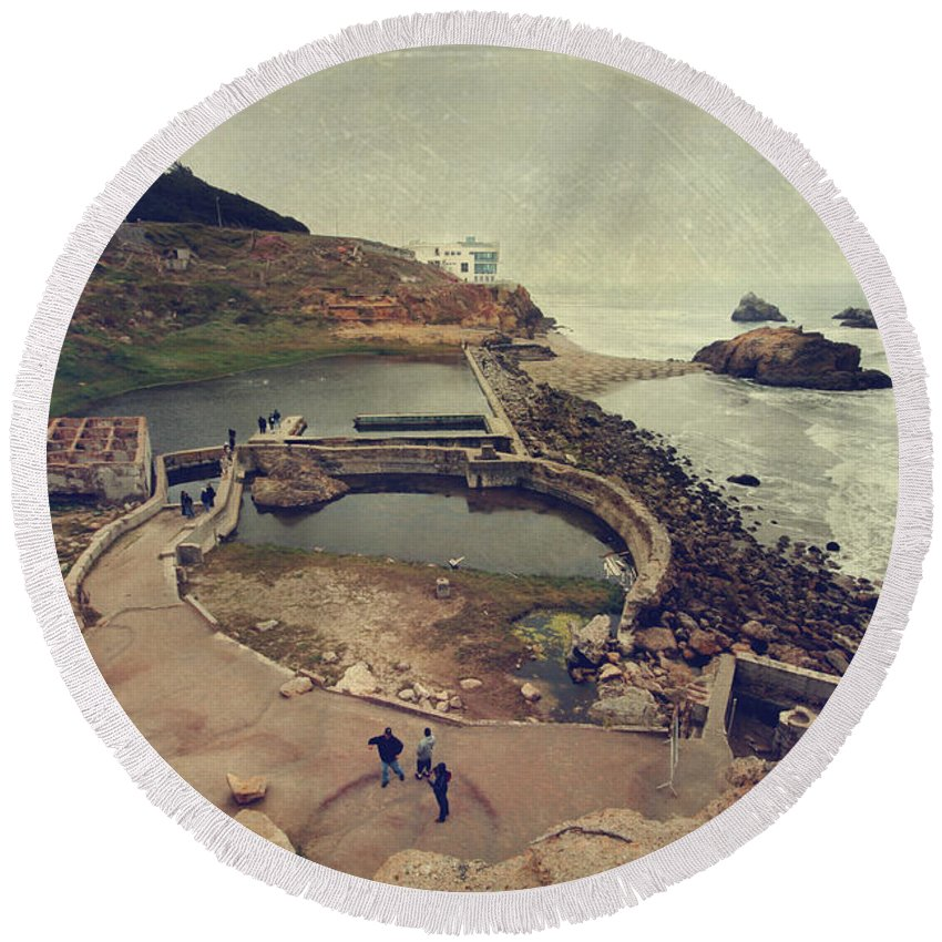 Sutro Baths Round Beach Towel featuring the photograph The Old Bath House by Laurie Search