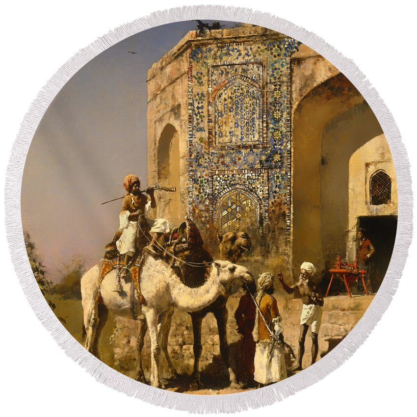 Painting Round Beach Towel featuring the painting The Old Blue Tiled Mosque - India by Mountain Dreams