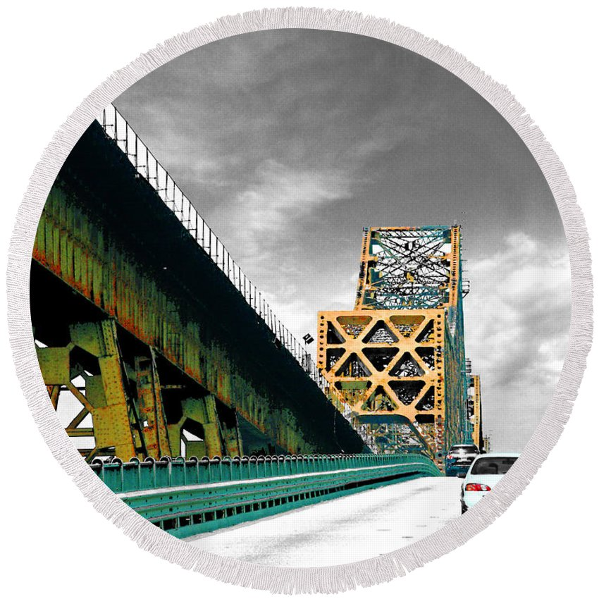 Mississippi River Round Beach Towel featuring the digital art The Old Bridge Hwy 190 Mississippi River Bridge Baton Rouge by Lizi Beard-Ward