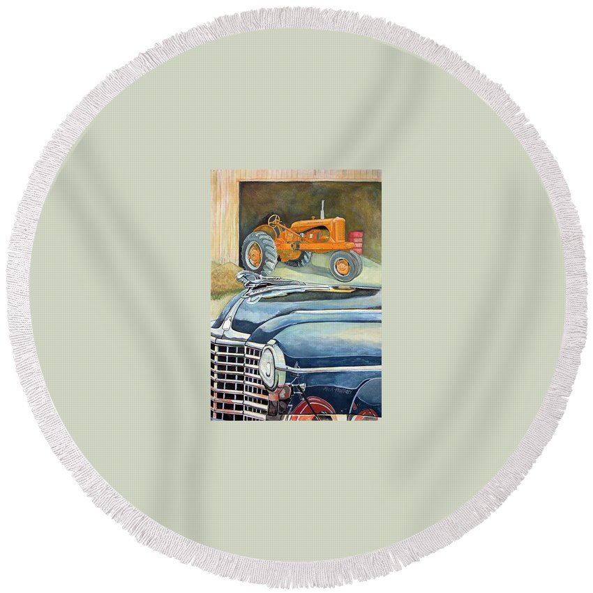 Rick Huotari Round Beach Towel featuring the painting The Old Farm by Rick Huotari