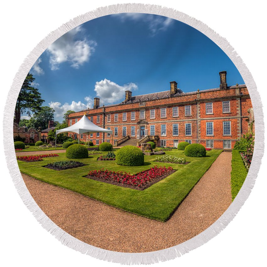 Stately Home Round Beach Towel featuring the photograph The Old Hall by Adrian Evans
