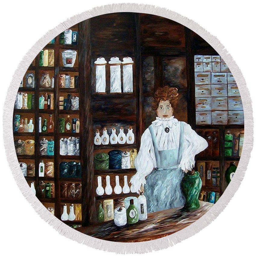 Apothecary Round Beach Towel featuring the painting The Old Pharmacy ... Medicine In The Making by Eloise Schneider