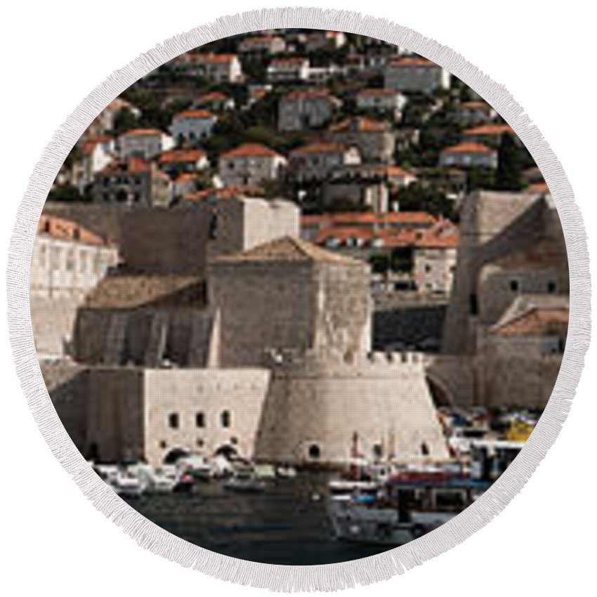Old Port Round Beach Towel featuring the photograph The Old Port Of Dubrovnik by Weston Westmoreland