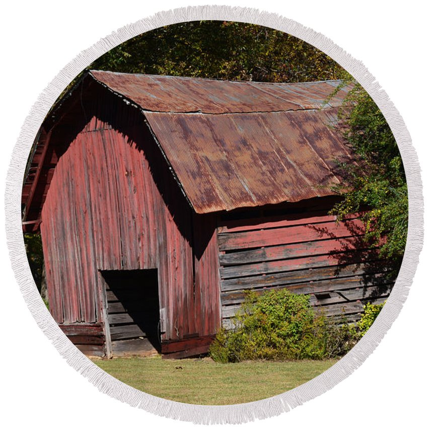 Rustic Round Beach Towel featuring the photograph The Old Red Barn by Barb Dalton
