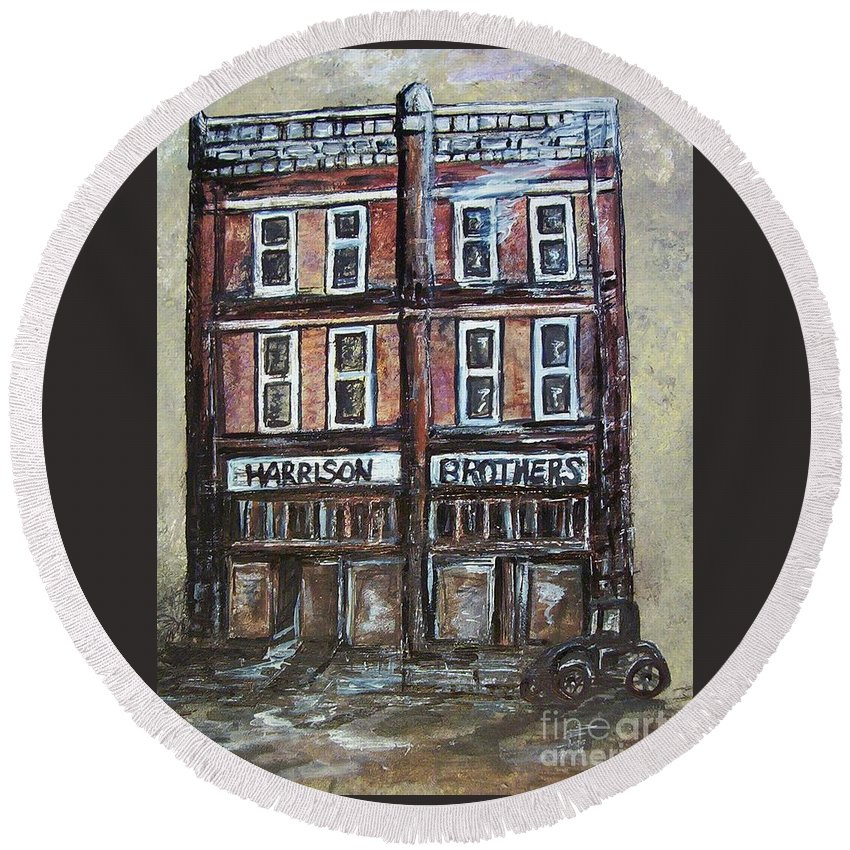 Historic Round Beach Towel featuring the painting The Old Store by Eloise Schneider Mote