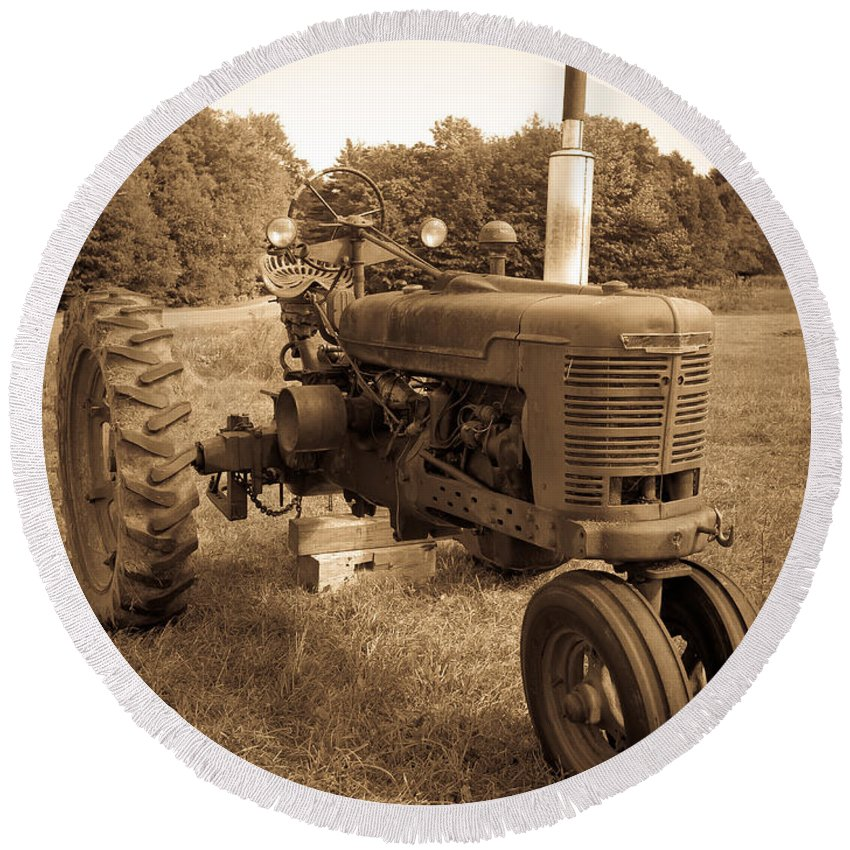 Sepia Round Beach Towel featuring the photograph The Old Tractor Sepia by Edward Fielding