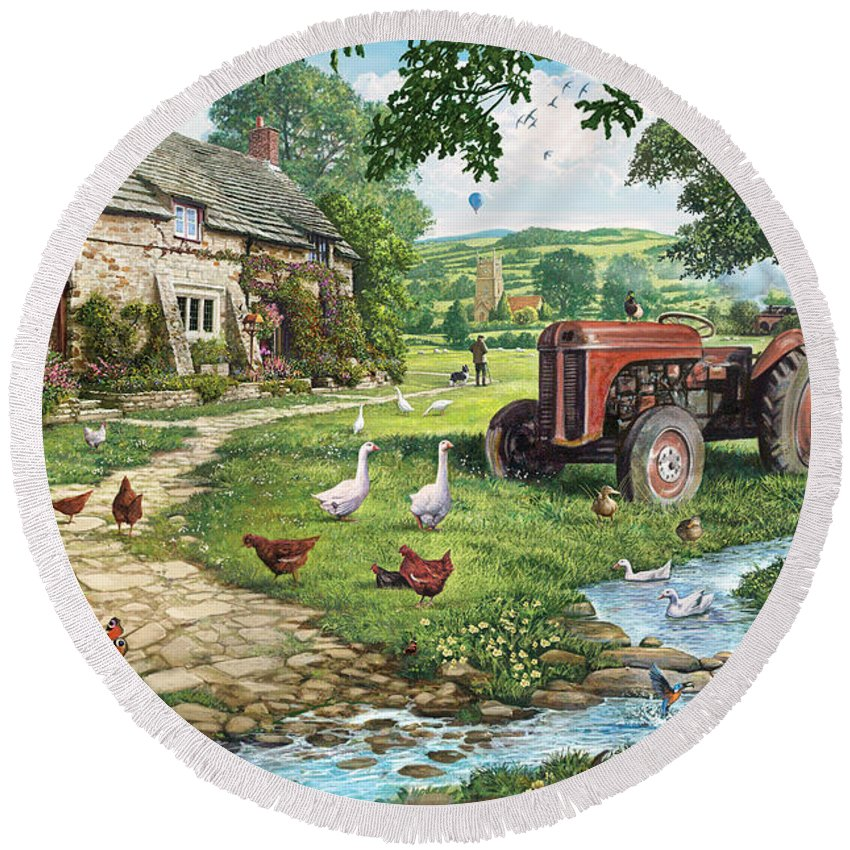 Architecture Round Beach Towel featuring the photograph The Old Tractor by MGL Meiklejohn Graphics Licensing