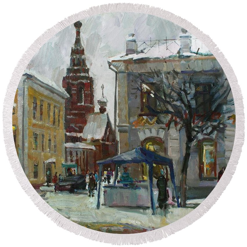 City Round Beach Towel featuring the painting The Old Yaroslavl by Juliya Zhukova