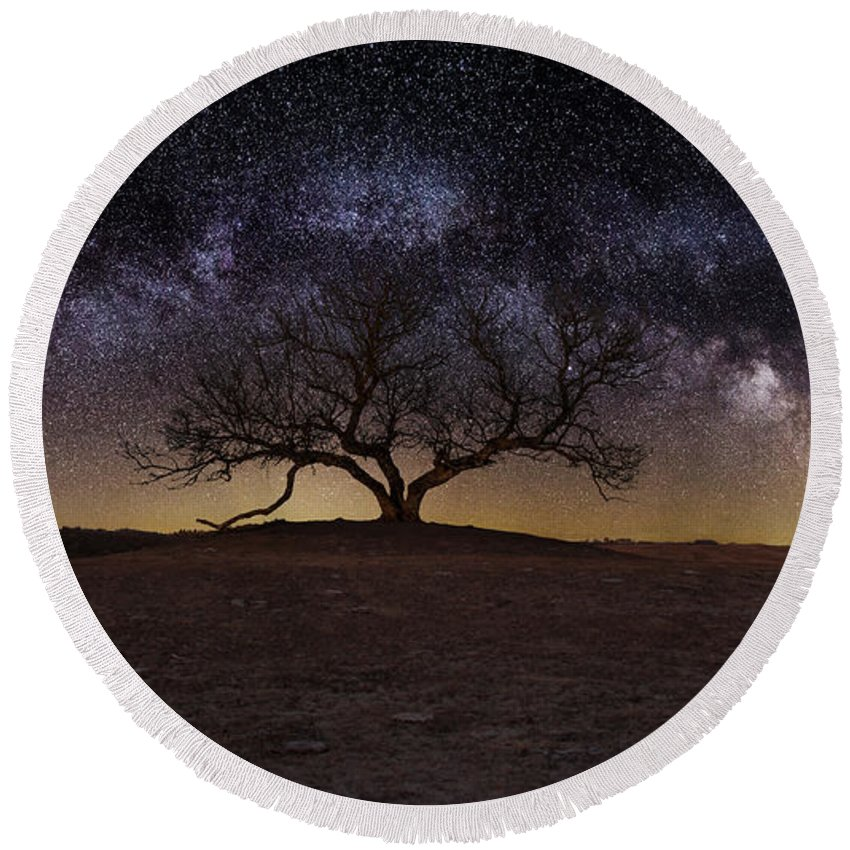 Milky Way Round Beach Towel featuring the photograph The One by Aaron J Groen