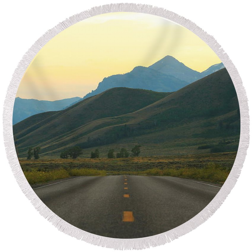 Jackson Hole Round Beach Towel featuring the photograph The Open Road by Catie Canetti