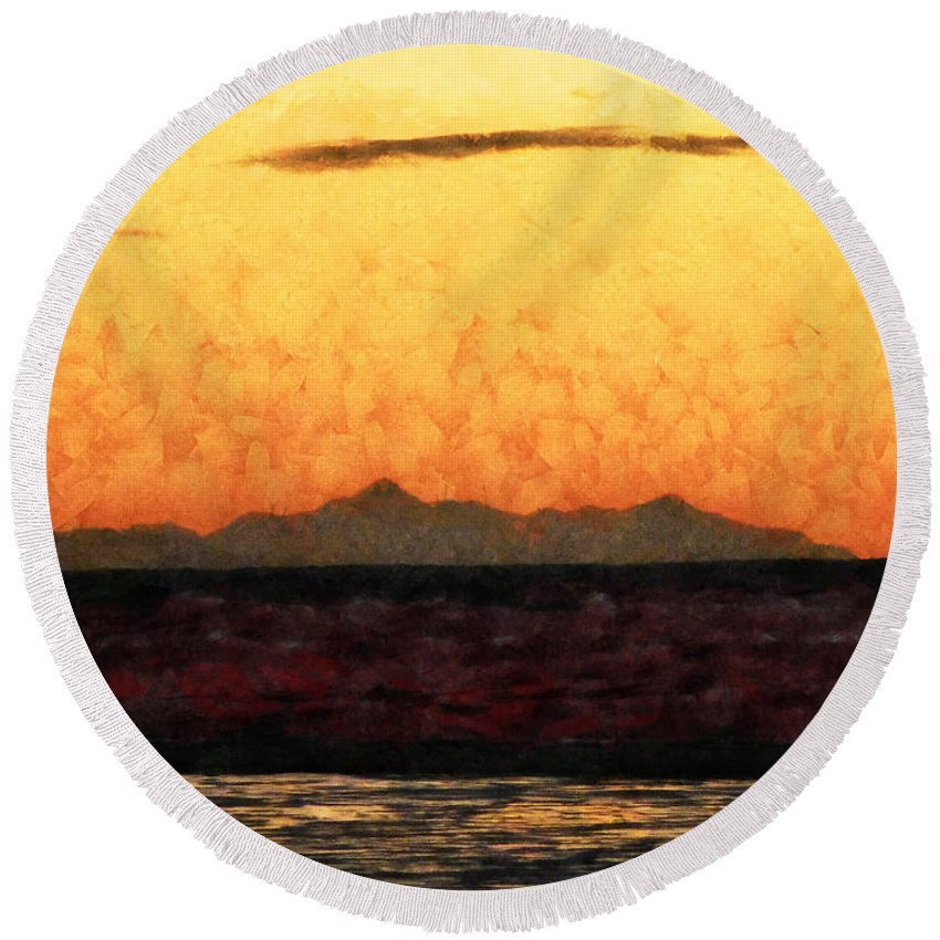 Abstract Round Beach Towel featuring the photograph The Orange Dawn by Steve Taylor
