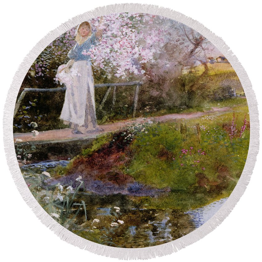 Bridge Round Beach Towel featuring the painting The Orchard Brook by Thomas Mackay