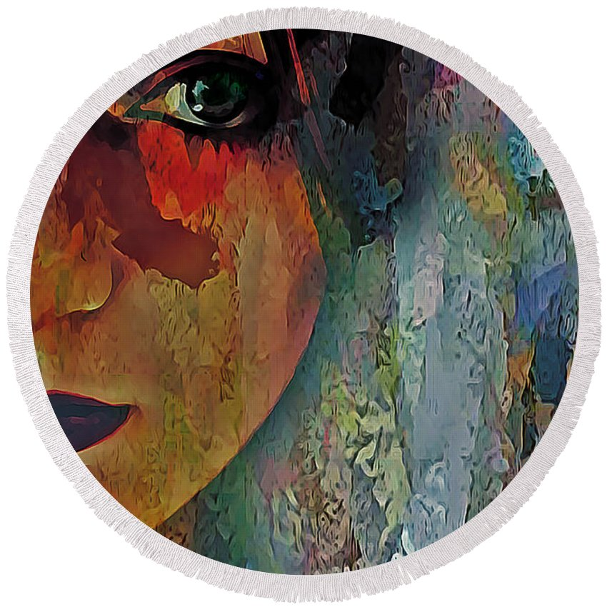 Abstract Round Beach Towel featuring the digital art The Other Left Abstract Portrait by Galen Valle
