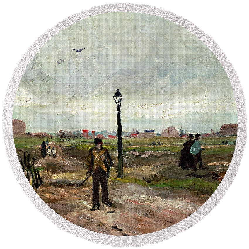 Landscape Round Beach Towel featuring the painting The Outskirts Of Paris by Vincent van Gogh