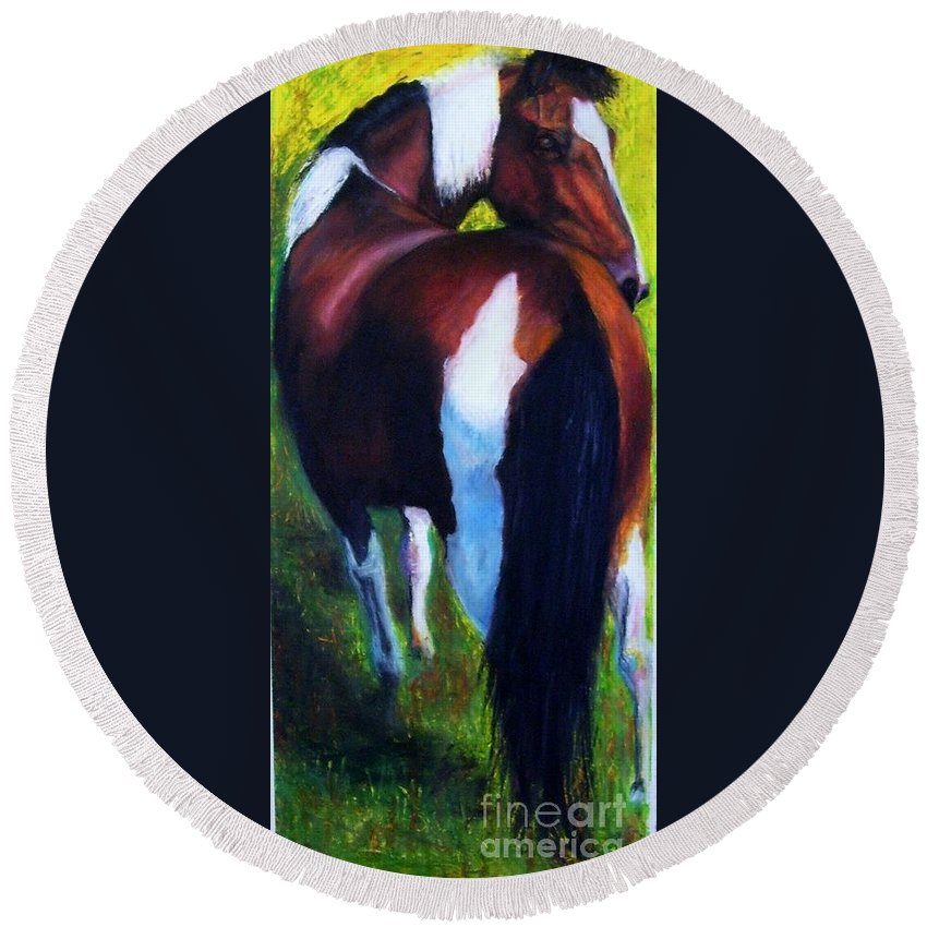 Horses Round Beach Towel featuring the painting The Paint by Frances Marino